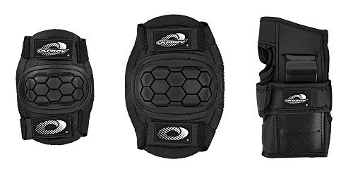 boys-girls-childs-osprey-skate-cycle-knee-elbow-wrist-protection-pads-set-black-medium