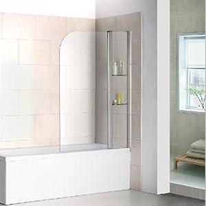 Drehen 180° Aufsatz Badewanne Duschwand Trennwand Duschabtrennung 100x140cm B2S