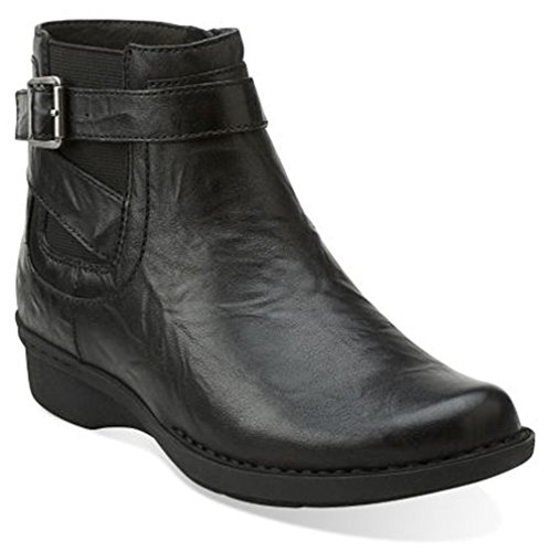 clarks-womens-whistle-shrub-casual-ankle-boots-black-leather-size-70
