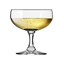 Krosno Non-Lead Crystal-Clear Glass, Vivat Champagne Saucer, 200 Ml, Set of 6