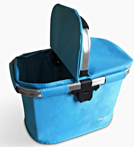 bicycle basket , Turquoise , aluminum and textile with Bracket - Dual Front Quick Release Basket, Removable, padded handle, Collapsible for storage, by Biria