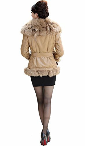 Queenshiny Women's 100% Real Sheep Leather Coat Jacket with Fox Trim and Collar-Yellowish-S(4-6)