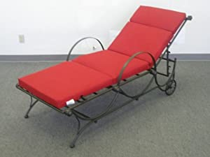 MANDALAY IRON PATIO or PORCH CHAISE LOUNGE in an ANTIQUE BLACK FINISH - PAPRIKA CUSHION