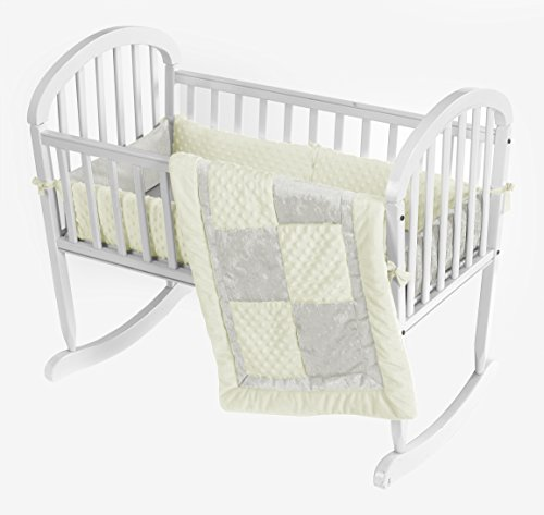 Baby Doll Croco Minky Cradle Bedding Set, Beige/Ivory