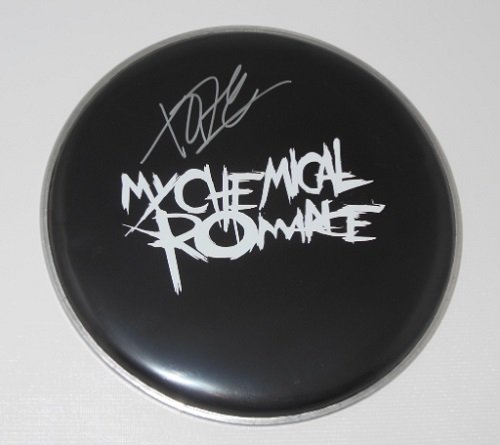 Gerard Way My Chemical Romance The Black Parade Signed Autographed Ebony Drum Skin Drumhead Loa