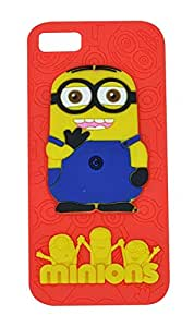 Cantra 3D Cute Minions Cartoon Soft Rubber Back Cover For Apple iPhone 5 & iPhone 5s - Red