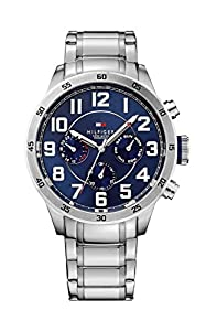 Tommy Hilfiger Trent Men's Quartz Watch with Blue Dial Analogue Display and Silver Stainless Steel Bracelet 1791053