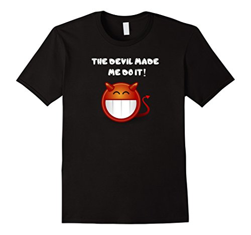 [Men's The Devil Made Me Do It! Horns Halloween Costume T-Shirt Tee XL Black] (Last Minute Halloween Costumes Devil)
