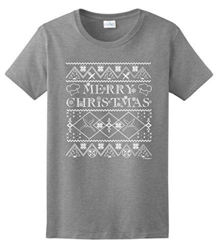 Ugly Christmas Sweater For Chefs Ladies T-Shirt Medium Sport Grey