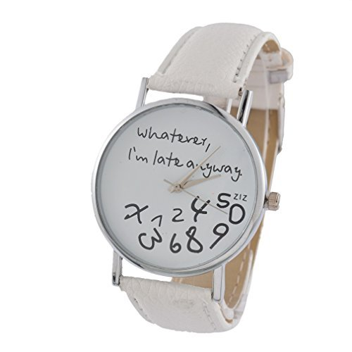 souarts-white-strap-whatever-i-am-late-anyway-artificial-leather-quartz-round-watch