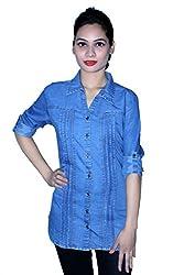 Cherry Clothing Women's Shirt (CDS2021 XL_Dark Blue_X-Large)