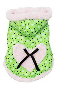 Evergreens New Cute Peach Heart Pet Dog's Coat Green Size L