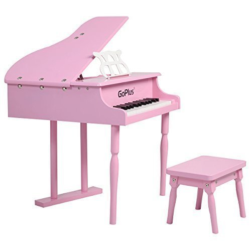 Goplus® Childs 30 key Toy Grand Baby Piano w/ Kids Bench Wood Pink New (Kids Piano With Bench compare prices)