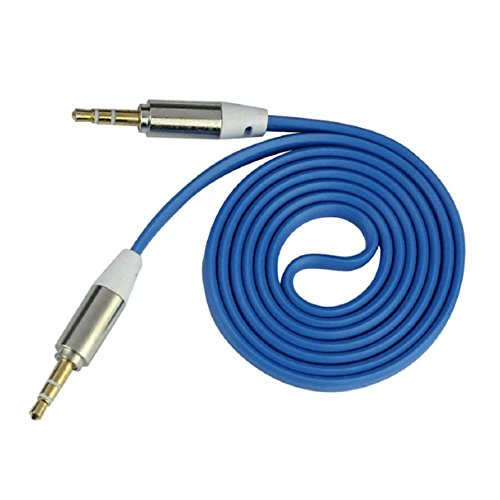 ABC® 3.5mm Stereo Auxiliary Cable Male to Male Flat Audio Music Aux Cord (Blue) (Blue Aux Cord compare prices)
