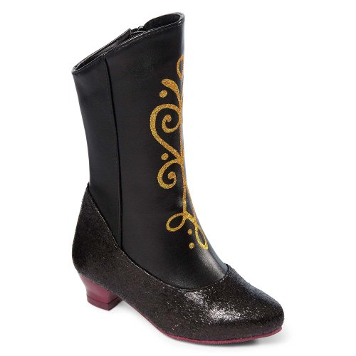 Disney Frozen Princess Anna Black and Gold Costume Boots for Girls Size (11/12)