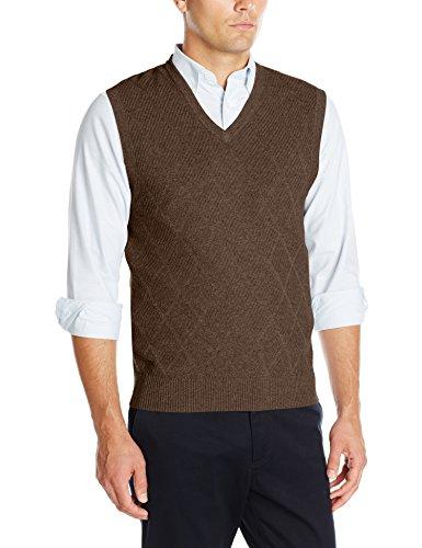 Haggar Men's Heather Diamond Texture Stitch V-Neck Sweater V
