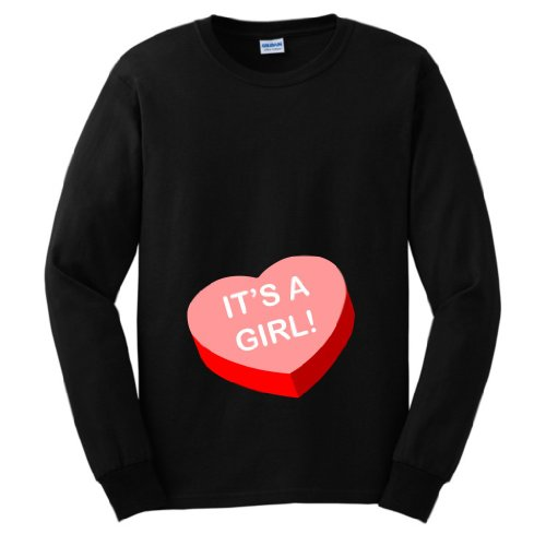 It'S A Girl Short Sleeve Maternity Themed Long Sleeve T-Shirt Large Black front-938518