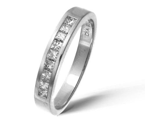 9ct White Gold 0.33ct Princess Cut Diamond Channel Set Half Eternity Ring