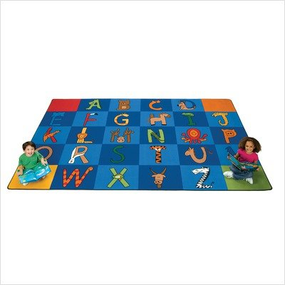 Printed A to Z Animal Kids Square Carpet Tile Rug (Set of 26) Size: Square 12""