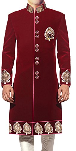 Inmonarch Mens Jodhpuri Velvet Sherwani Sh433 Custom-Made Maroon