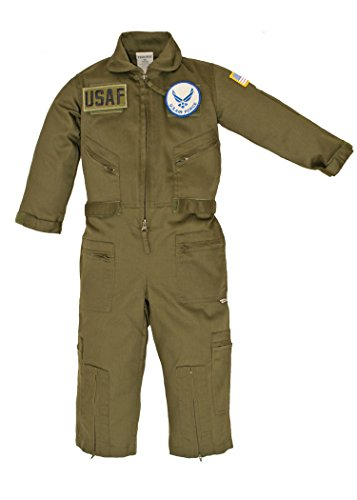 Kids Military Replica OD Green Flight Suit US Air Force Patches XL 9-10
