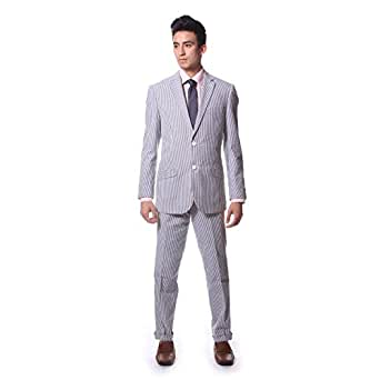Classy Men's Seersucker White and Gray Stripe Two Button Suit (44 Regular)