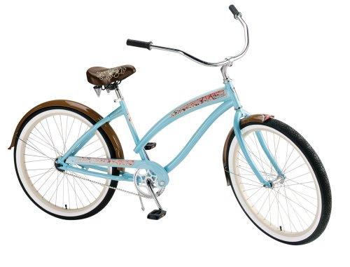 Nirve Island Flower Women's/Girl's 24-Inch Single Speed Cruiser Bike (Coral Teal)