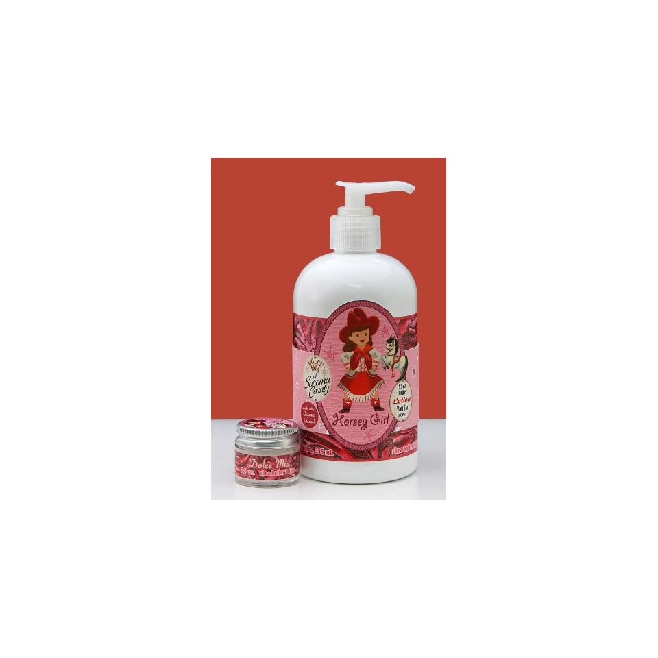Dolce Mia Horsey Girl Vanilla Shea Butter Natural Lotion With Organic botanicals 12 oz. Pump