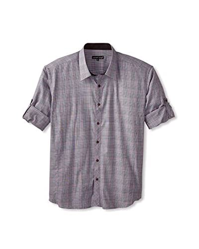 Jared Lang Men's Tonal Sport Shirt with Roll-Up Sleeves
