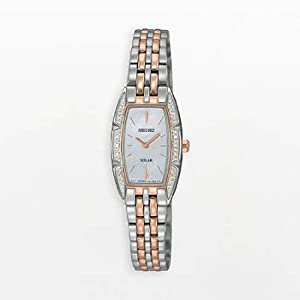 Rose Gold Two Tone Stainless Steel Solar Quartz Mother of Pearl Dial Swarovski Crystals