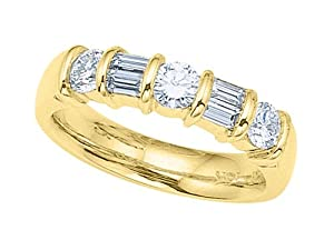 Karina B (tm) Baguette Diamonds Band in 18 kt Yellow Gold Size 4.5