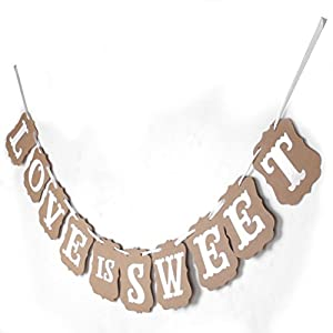 OULII LOVE IS SWEET Paper Garland Banner Wedding Banner Party Decoration by OULII