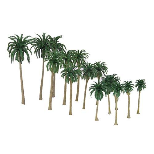 15pcs-Landschaftsbau-Kokosnuss-Palm-Baum-Bume-Modelleisenbahn-16-7CM