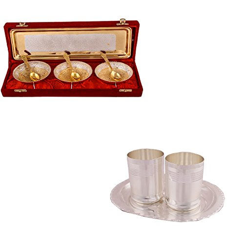 Silver & Gold Plated 3 Heavy Flower Bowl With Spoon And Tray And Silver Plated 2 Premium Glass Set With Oval Tray