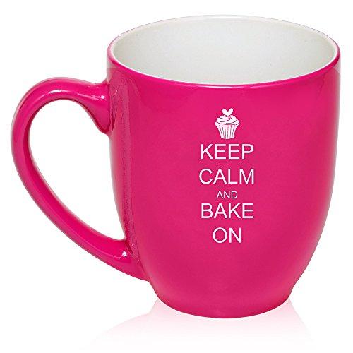 16 oz Hot Pink Large Bistro Mug Ceramic Coffee Tea Glass Cup Keep Calm and Bake On Cupcake (Bake N Keep compare prices)