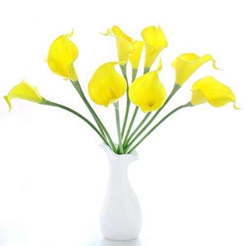 nuolux-10pcs-artificial-pu-calla-lily-flower-wedding-flower-bouquets-yellow