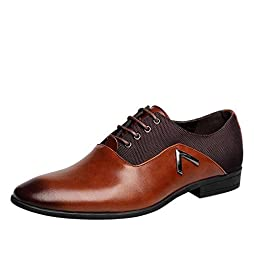 Men pointed toe Business Dress Formal Leather Shoes Flat Oxfords Loafers Slip On
