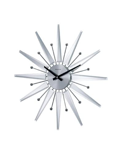 George Nelson Mirrored Starburst Clock, Silver