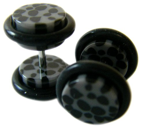 Body Jewelry - Simulated Faux Plug Earrings - Gray/Grey and Black Cheetah Spots Pair