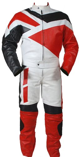 2pc Motorcycle Riding Racing Track Suit all Leather w/ Padding Drag Suit New Red -Large
