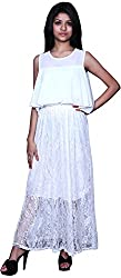 Trendz Today Women's Long Gown (GT06, White, X-Large)