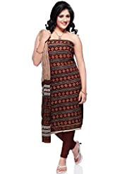 Utsav Fashion Women's Grey and Maroon Cotton Churidar Kameez-