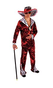 Adult Men's Funny, 70's Big Daddy, Red Pimp Fancy Dress Costume. One Size Costume But Usually Fits Mens Small, Medium And Large. Perfect For A Stag Do.