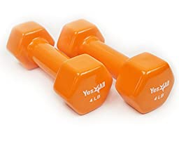 Yes4all PVC Dumbbells (Sold in Pair) (Orange 4 lbs)