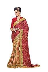 Aaradhya Fashion Beige & Red Crepe & Satin Chiffon Saree