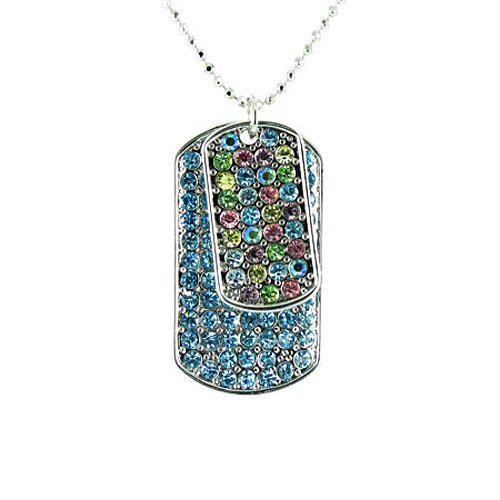 Blue and Multi-Coloured on Silver Plated Bling Dog Tag Necklace