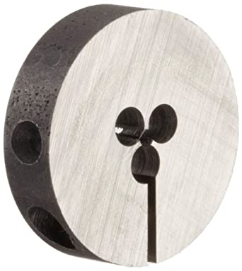 "Union Butterfield 2010(UNF) Carbon Steel Round Threading Die, Uncoated (Bright) Finish, 13/16"" OD, #0-80 Thread Size"