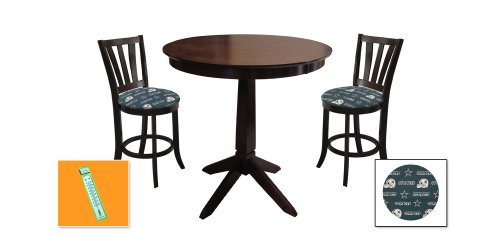 New Cappuccino / Espresso Finish Wood 3 Piece Bar Table Set includes 2 Bar Stools with Dallas Cowboys Theme! Also includes a free large indoor / outdoor thermometer! at Amazon.com