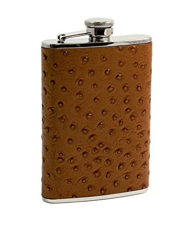 Bey-Berk 8-Oz. Stainless Steel & Tan Leather Flask