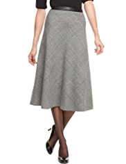 M&S Collection Wool Blend Checked Midi Skirt